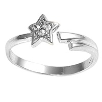 Cubic Zirconia Shooting Star Adjustable Bypass Wrap Toe Ring