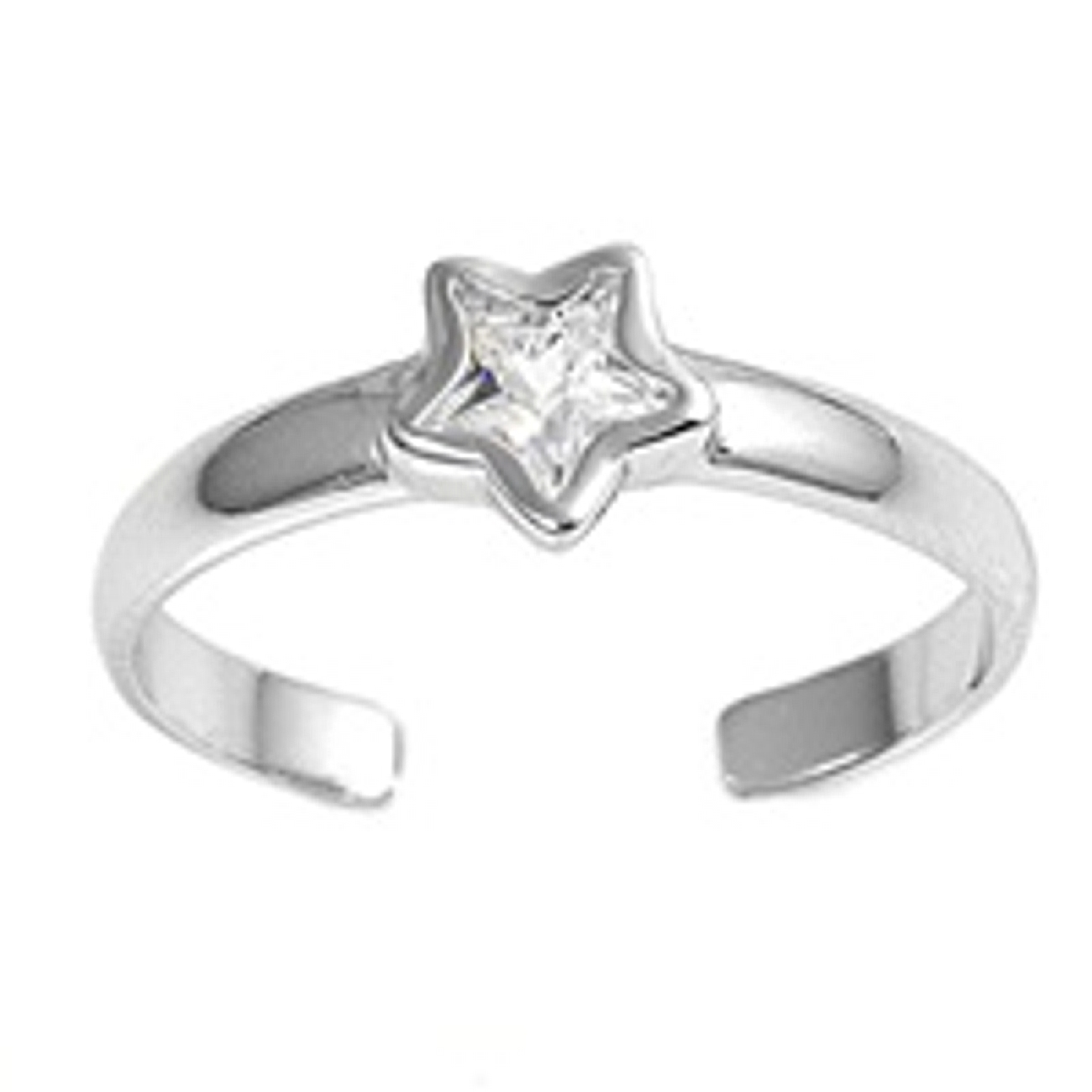 Cubic Zirconia Star Adjustable Toe Ring