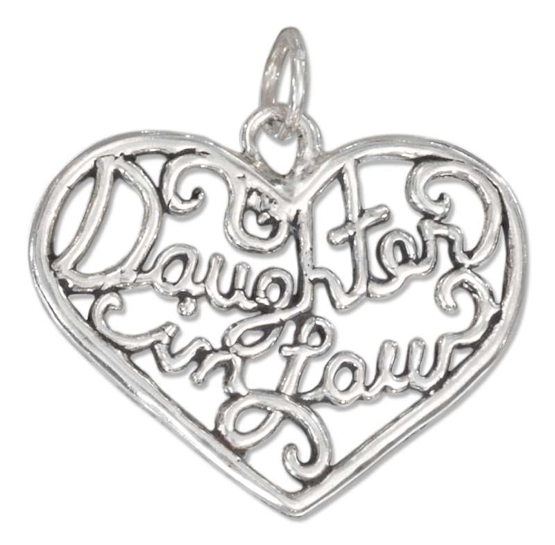 """DAUGHTER In LAW"" Open Filigree Heart Charm"