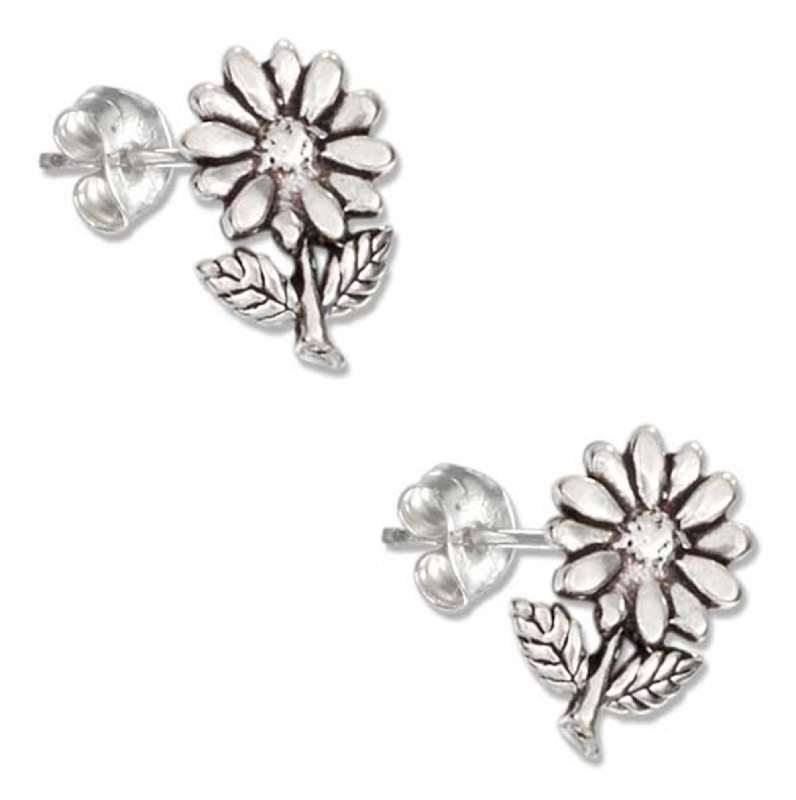 Daisy Flower, Leaves And Stem Post Earrings