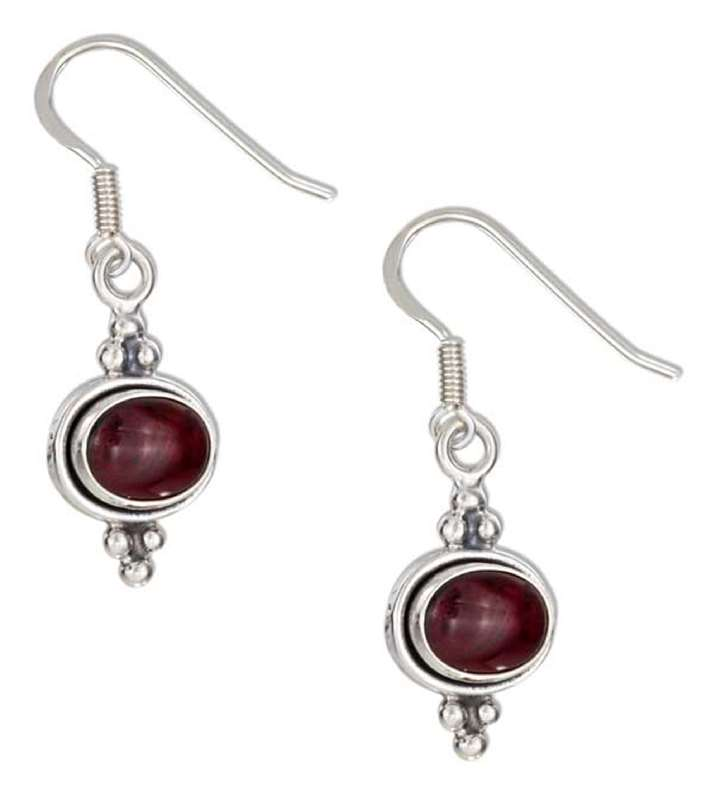 Beaded Garnet Dangle Earrings