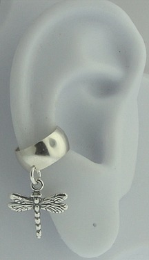 Left Or Right Nonpiercing Dangling Dragonfly Charmed Ear Cuff