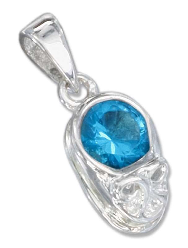 Small December Birthstone Baby Shoe Pendant