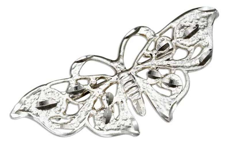 Diamond Cut Filigree Butterfly Brooch Pin