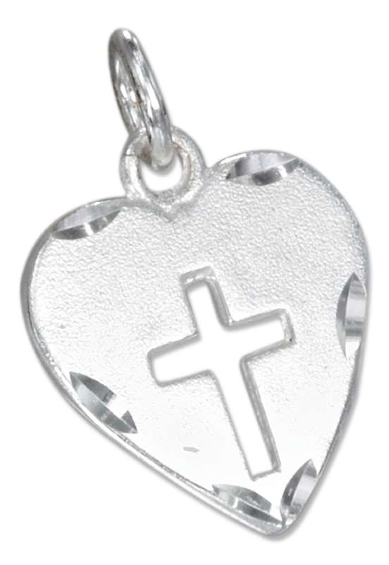 Heart Cutout Christian Religious Cross Charm