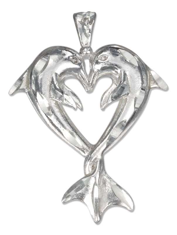 Heart Shaped Kissing Dolphin Pendant