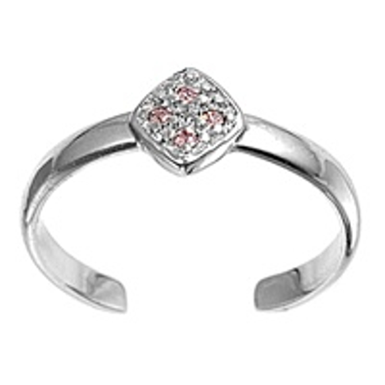 Diamond Shape With Pink Cubic Zirconia Stones Adjustable Toe Ring