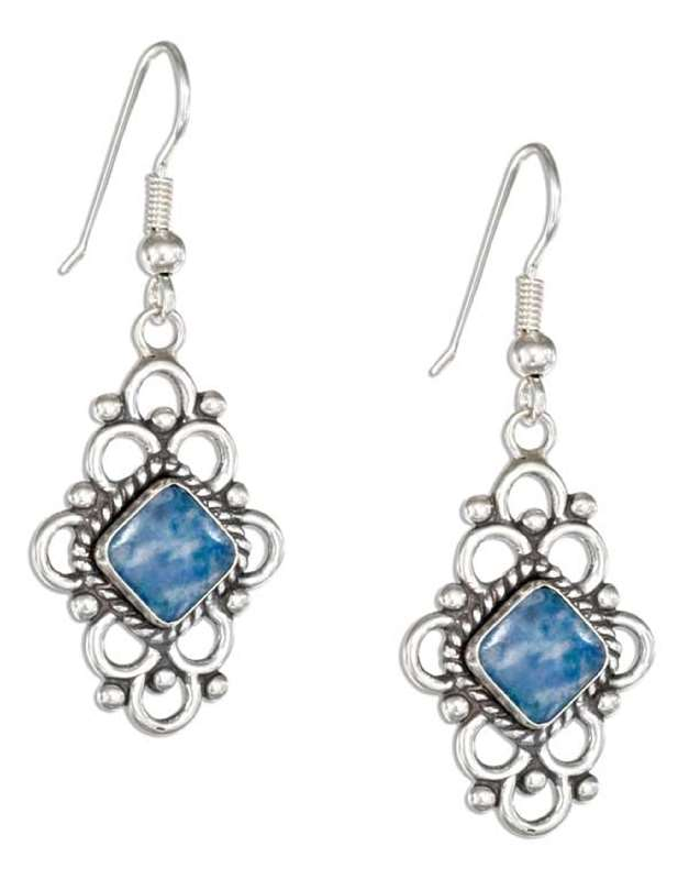 Diamond Shaped Lapis Earrings Loops Border
