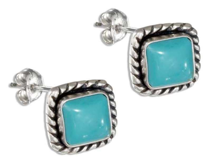 Diamond Or Square Shaped Turquoise Post Earrings