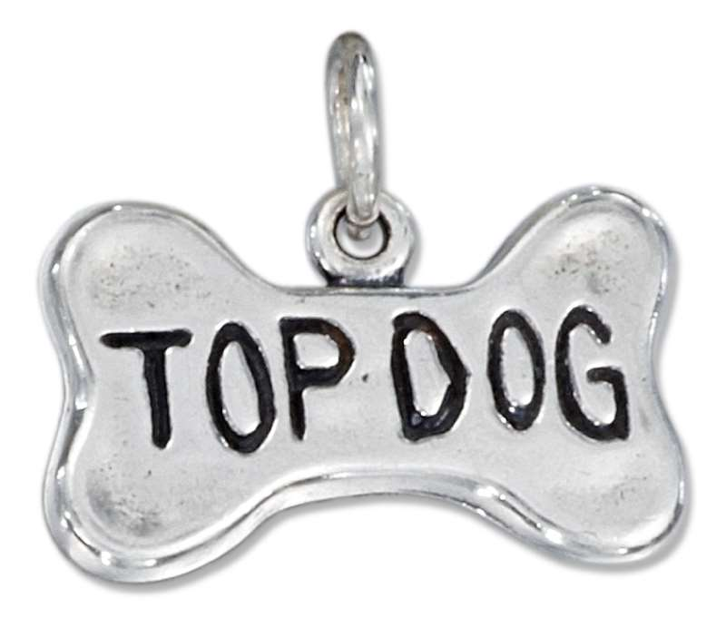 TOP DOG Bone Shaped Charm