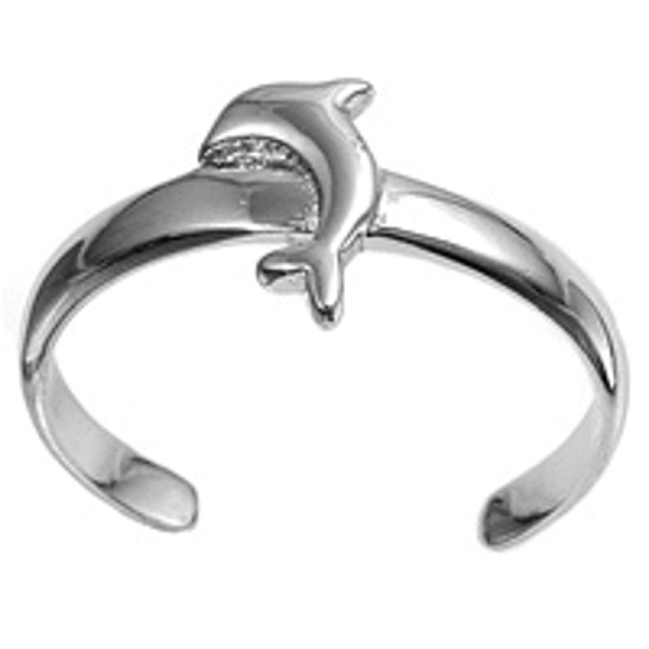 High Polished Dolphin Adjustable Toe Ring