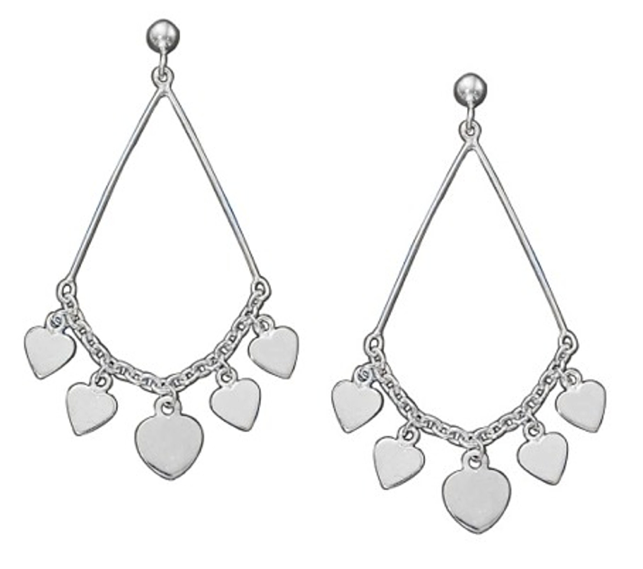 Double Bar Connected Chain Heart Dangles Post Earrings