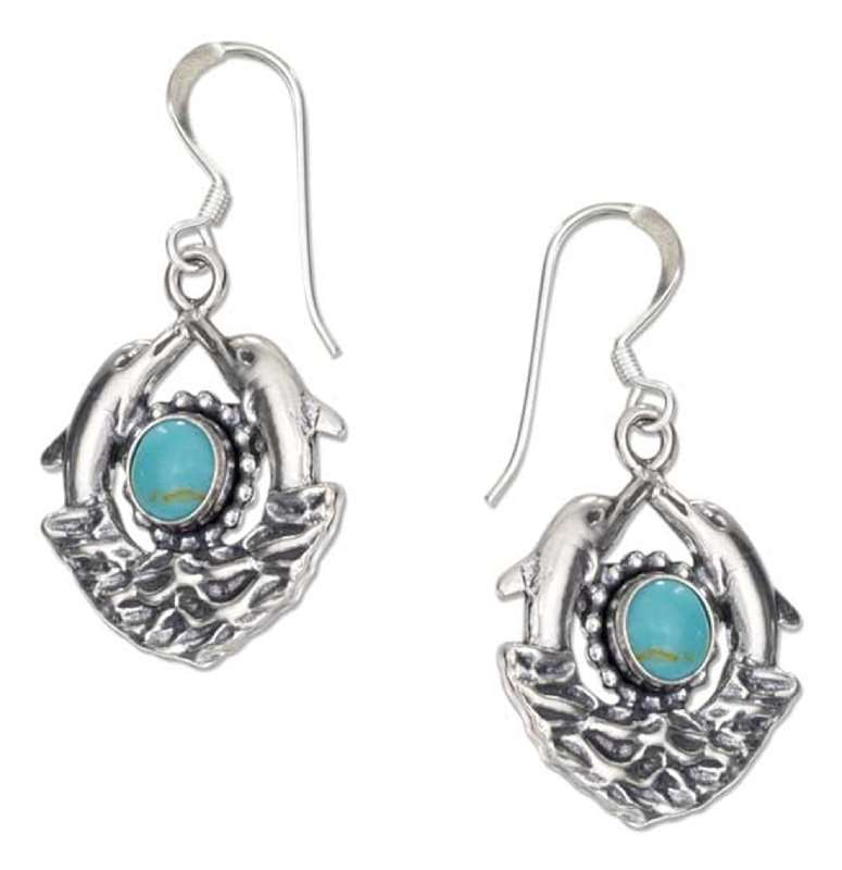 Double Dolphins Turquoise Sun Waves Dangle Earrings
