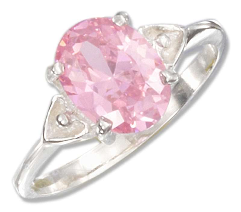 Double Heart Shank Pink Ice Ring