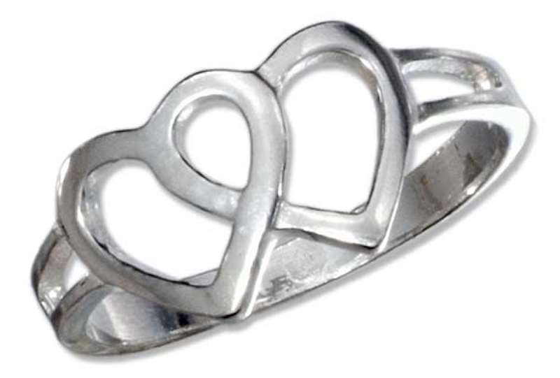double open heart ring sterling silver double open heart ring size 4 1