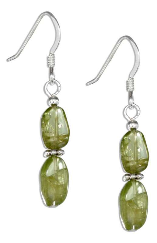 Double Peridot Stones Beaded Spacers Dangle Earrings
