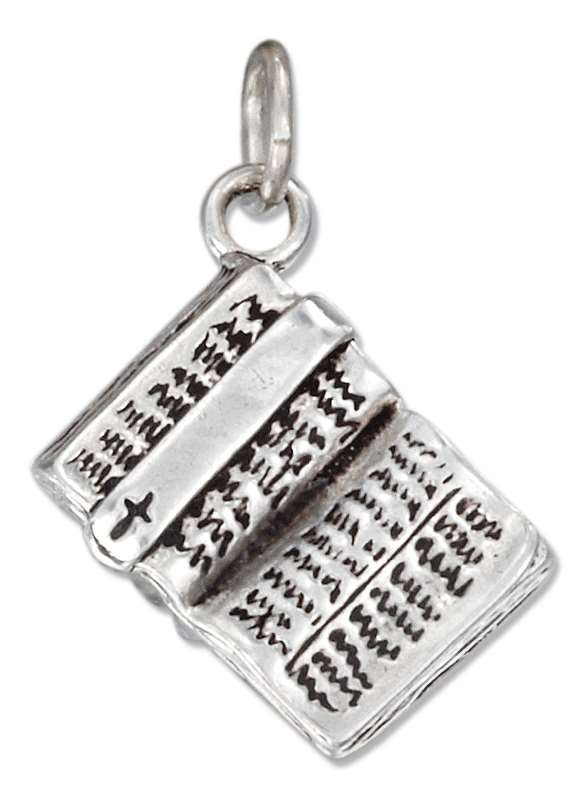 3D Open Holy Bible Bookmark Charm