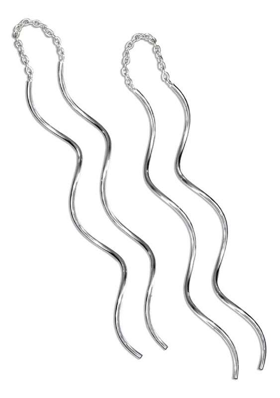 Long Double Squiggle Curled Earring Threads