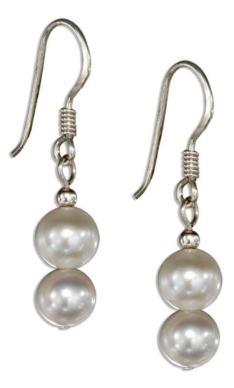 Double White Freshwater Pearl Dangle Earrings