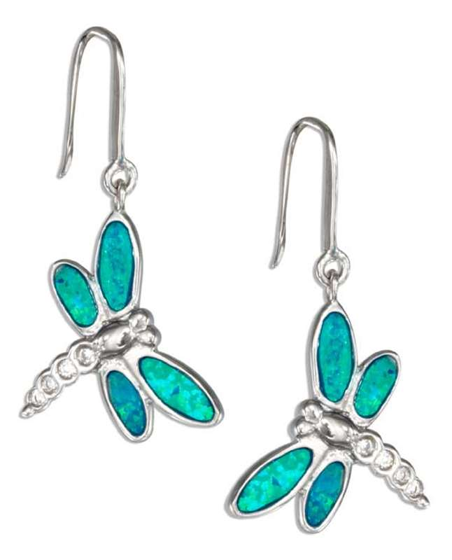 Imitation Blue Opal Cubic Zirconia Dragonfly Earrings