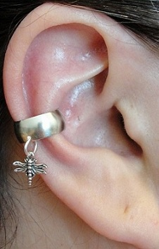 Left Or Right Dangling Nonpiercing Dragonfly Charmed Ear Cuff