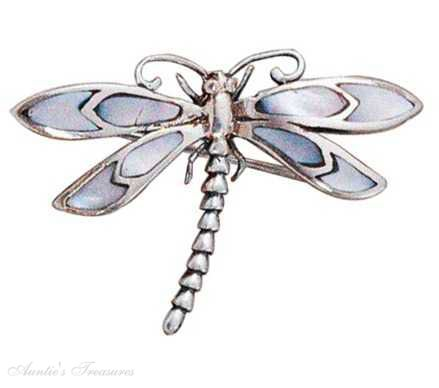 Dragonfly Brooch Pin Mother Of Pearl Wings (Colors Vary)