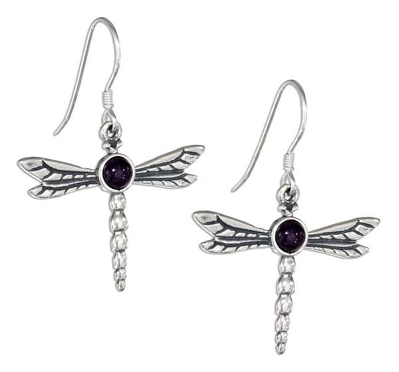 Dragonfly Amethyst Dangle Earrings