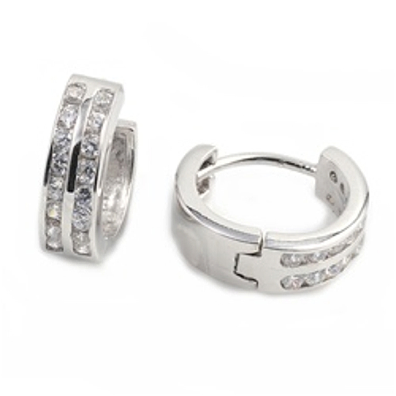 Single 15mm Two Channel Round Cubic Zirconia Huggie Hoop Earring