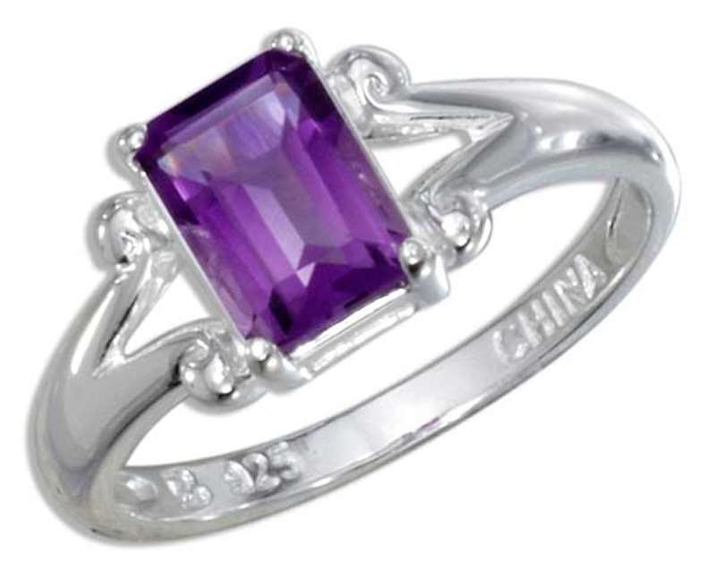 Emerald Cut Amethyst Solitaire Ring