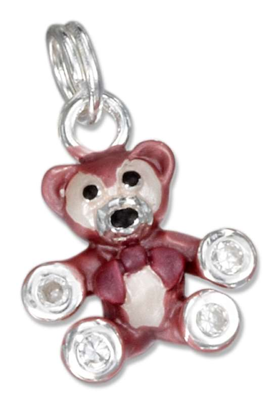 3D Enamel Little Brown Bear Cubic Zirconia Paws Charm