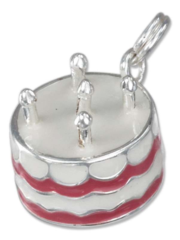 3D Enamel Pink White Birthday Cake Or Anniversary Cake Charm