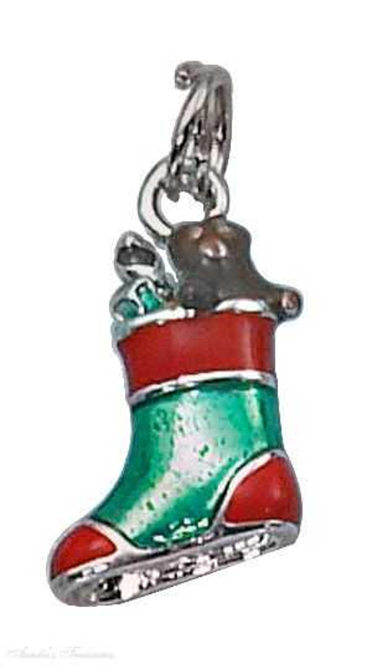 3D Enamel Red Green Christmas Stocking Charm