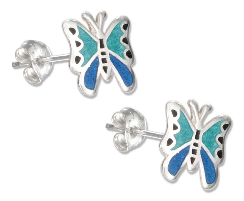 Enamel Butterfly Post Earrings