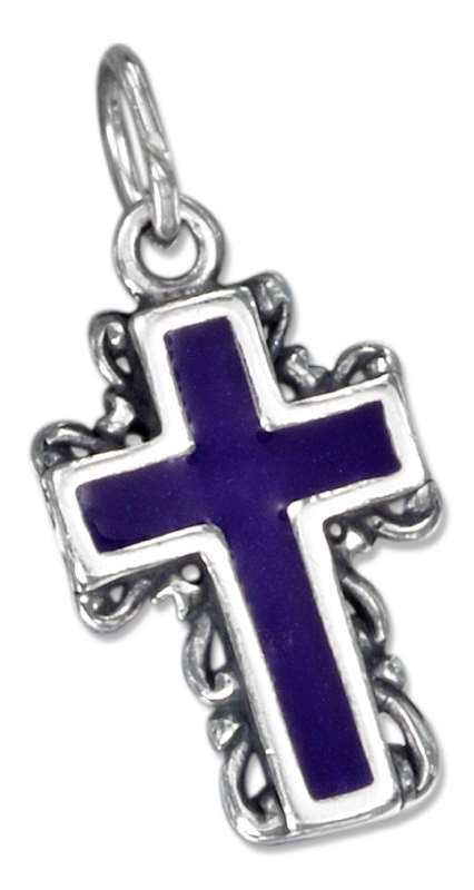 Enamel Christian Religious Cross Scrolled Edges Charm