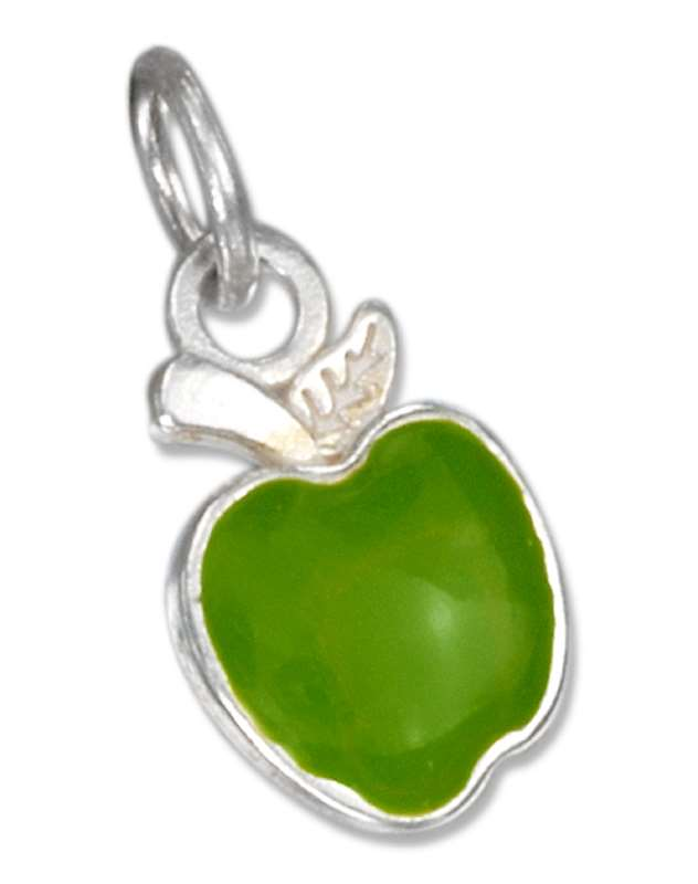 Enamel Granny Smith Green Apple Charm