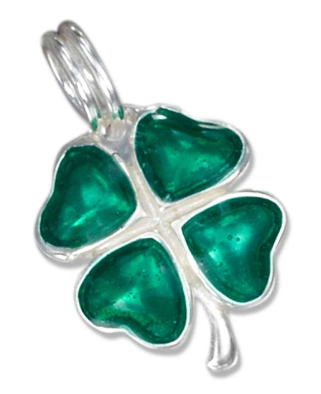 Enamel Green Four 4 Leaf Clover Charm