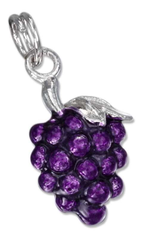 3D Enamel Purple Cluster Of Grapes Charm