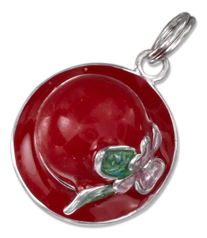 Red Enameled Ladies Hat Charm With Flower