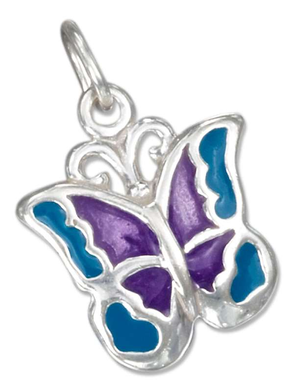 Enameled Blue Purple Butterfly Charm