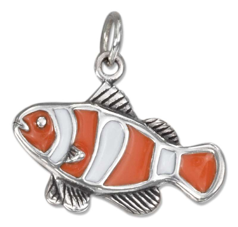 Enameled Clown Fish Charm