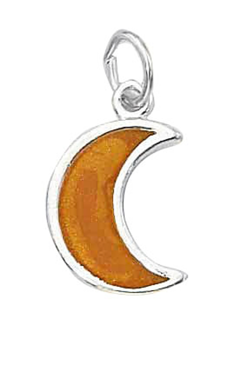 Enameled Yellow Crescent Moon Charm