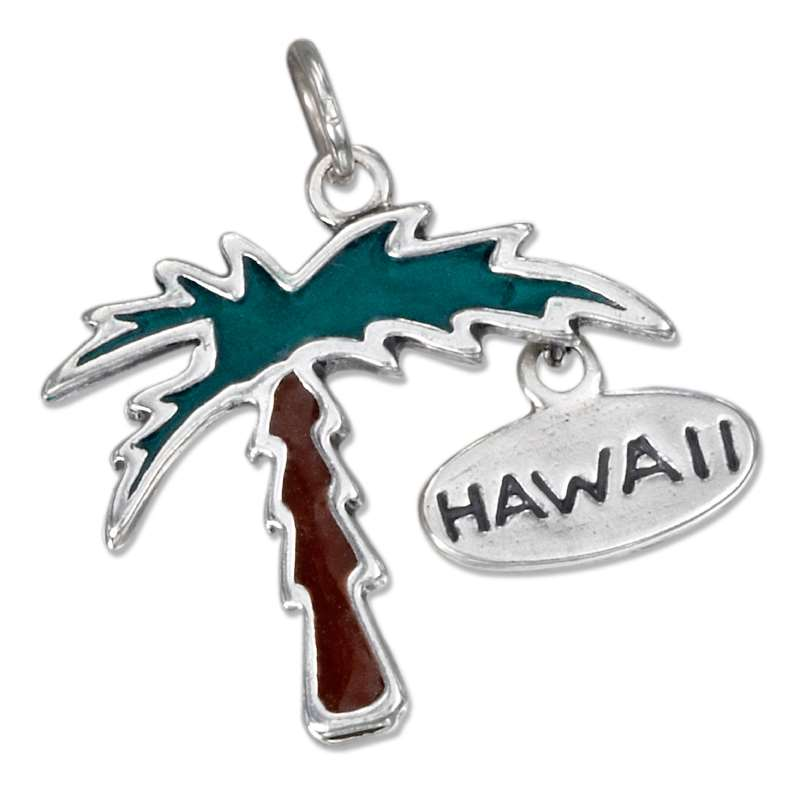 Palm Tree Enameled Charm Hawaii Tag
