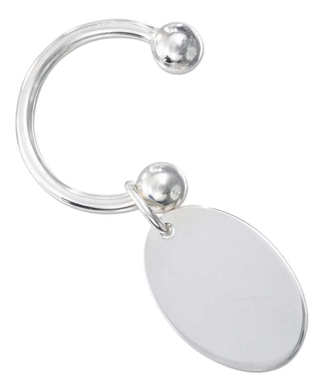 Sterling Silver Engraveable Oval Tag 31mm Horseshoe Key Ring