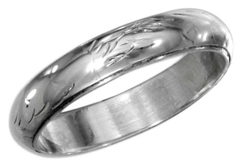 Unisex Etched 4mm Wedding Band Ring