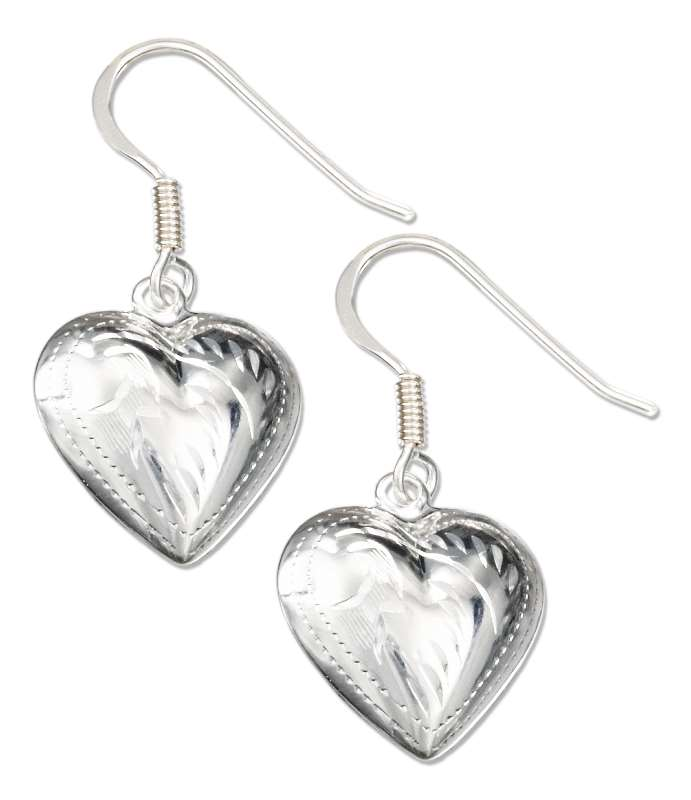Etched Puffed Heart Dangle Earrings
