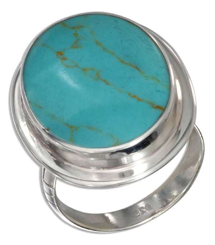 Large Solitaire Turquoise Cocktail Ring