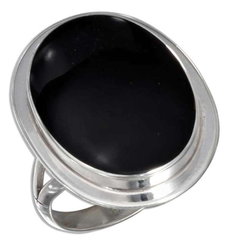 Large Solitaire Black Onyx Cocktail Ring