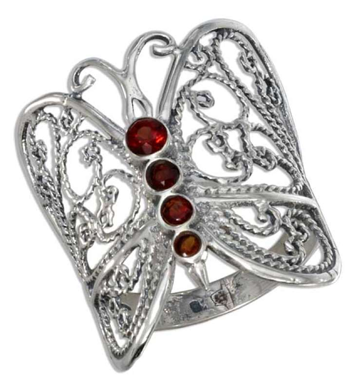 Filigree Imitation Garnet Butterfly Ring