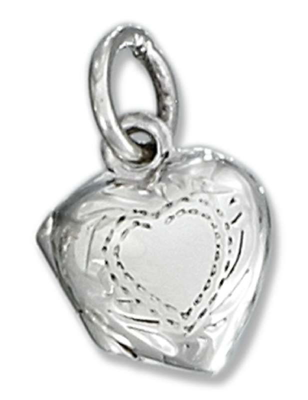 Small Etched Heart Locket Pendant