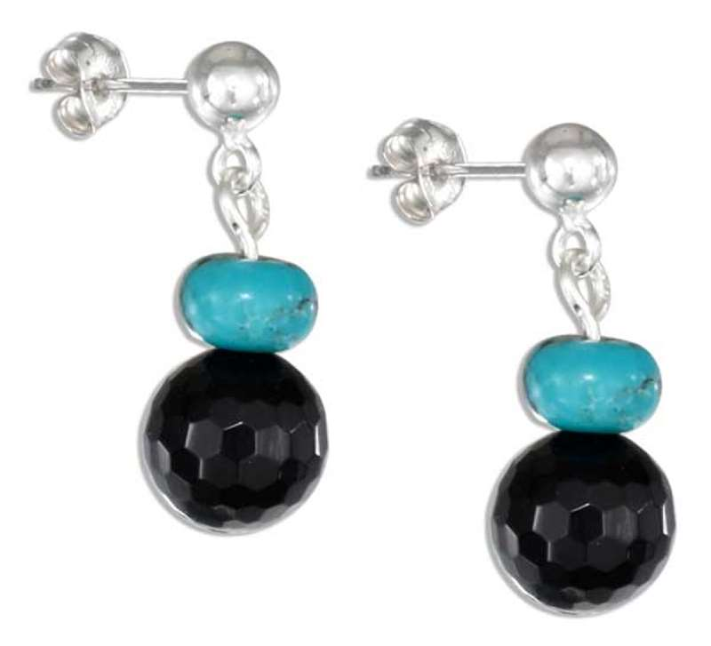 Black Onyx Turquoise Bead Post Drop Earrings